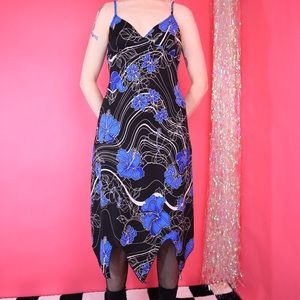Vintage 90's Blue Black Hibiscus Unique Hem Dress